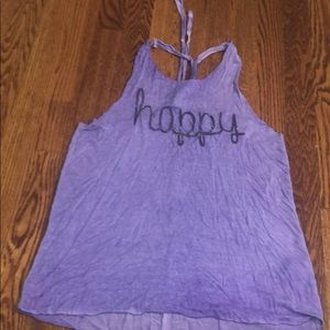 Happy Purple Tank with an Open Rope Fringe Back